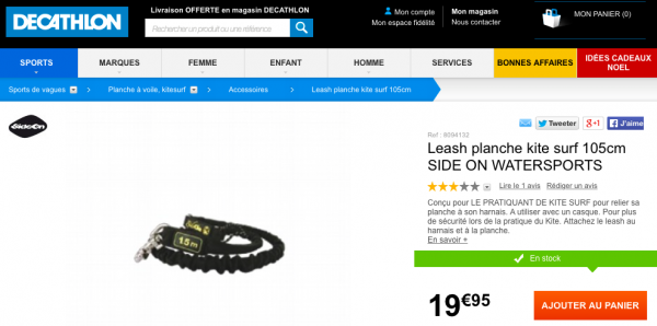 LEASH PLANCHE KITE SURF Decathlon